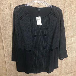Lucky Brand Black Top L NEW Long Sleeve Shirt